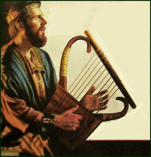 KING DAVID PLAYING THE HARP-9X9